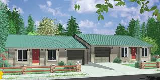A 1 Story House 2 Bedroom Design One Level Duplex House Plans Corner Lot Duplex Plans Narrow Lot