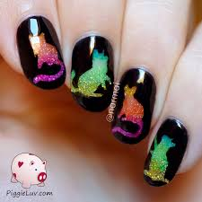 piggieluv glitter rainbow cats nail art with opi color paints