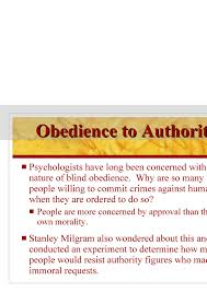 Blind Obedience To Authority Chapter 7 Powerpoint