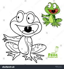cute cartoon frog color outlined on stock vector 694309303
