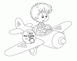 small airplane and little pilot coloring page for preschoolers