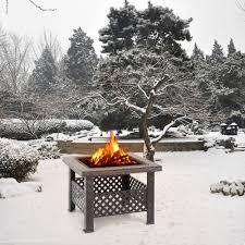 ikayaa square metal garden backyard brazier fire pit patio stove
