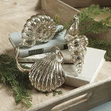 set of 3 glass seashell ornaments ballard designs