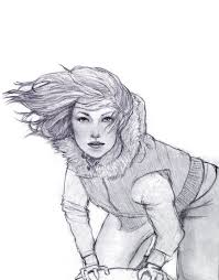 drawn wind wind blown hair pencil and in color drawn wind wind
