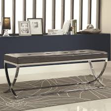 modern bench design come with grey leather tufted seating and also