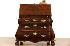Desk Compartments Dutch Bombe 1950 U0027s Vintage Walnut U0026 Burl Secretary Desk Secret