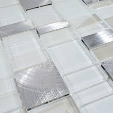 Metal Backsplash Tiles For Kitchens by White Glass Metal Backsplash Tile Home Improvement Design And