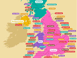 England Map Cities by Most Popular Baby Name In Every Uk City Business Insider