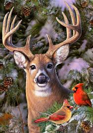 Flag Store Deer Cardinal Winter Great Outdoor Small Flag 2145fm 10 99