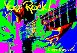 Psychedelic Meme - you rock psychedelic guitar glitter graphic greeting comment