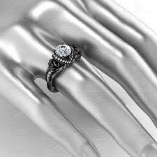 Sterling Silver Wedding Rings by Sapphire Studios U0027l U0027amour U0027 1 65ct White Diamond Black Silver