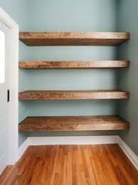 diy solid wood wall to wall shelves open shelves wood walls and
