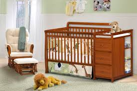 Convertible Cribs With Attached Changing Table by Cherry Wood Crib With Changing Table Decoration