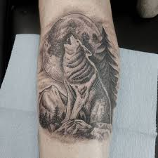collection of 25 moon wolves and mountains tattoos