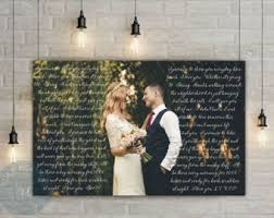 wedding vow backdrop wedding canvas print with photo unique wedding gift wedding