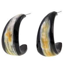 black hoop earrings black watusi cattle horn hoop earrings 8602666