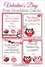 kids valentines day cards free printable s day cards for kids with owls and birds