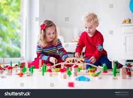 children playing wooden train toddler kid stock photo 337675364