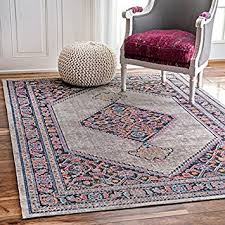 Pink Grey Rug Amazon Com Nuloom Vintage Persian Border Grey Rug 5 U0027 X 7 U00275