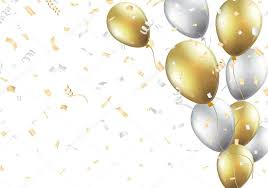 silver balloons festive background with gold and silver balloons stock vector