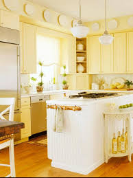 bright kitchen design with yellow color and white kitchen wall