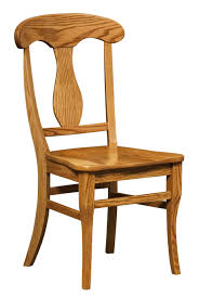 light brown wooden chair with high back and curving ornament on