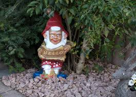 Garden Nome by A Garden Gnome With Red Pointed Cap And White Beard Sits Under