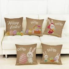 rabbit home decor 2018 easter home decor pillows happy easter benny rabbit eggs print