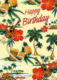 hawaiian happy birthday greeting card island