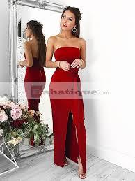 elegant red off shoulder long bandage dress babatique