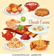 cuisine danoise danois plats cuisine déjeuner sain dessin animé icône