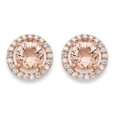 cubic zirconia earrings 45 tcw simulated pink morganite and cubic zirconia earrings in