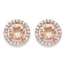 zirconia earrings 45 tcw simulated pink morganite and cubic zirconia earrings in