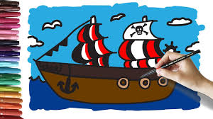 learn how to draw and color a pirate ship coloring for kids