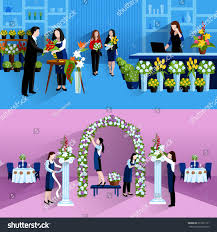 wedding party decorations bouquets design florist stock vector