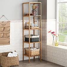 Shelving Units For Bathrooms Ollieroo Bamboo Bathroom Shelf 5 Tier Multi Functional