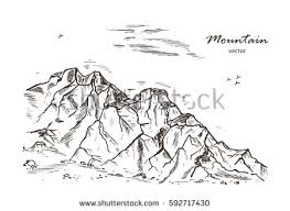 mountains sketch hand drawn rocks vector stock vector 592717430
