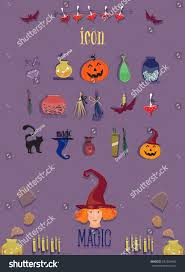 Halloween Desktop Icons Icons Halloween Sorceress Stock Vector 652326640 Shutterstock