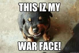 War Face Meme - mean puppy memes quickmeme