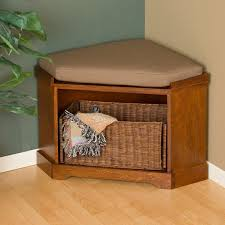 Corner Storage Bench Bench Design Nantucket Corner Storage Bench With Basket Brown