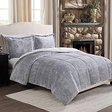 Faux Fur Duvet Cover Queen Frosted Fur Reversible Comforter Set Bed Bath U0026 Beyond