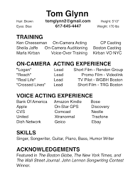 Sample Acting Resume by Theatre Acting Cover Letter