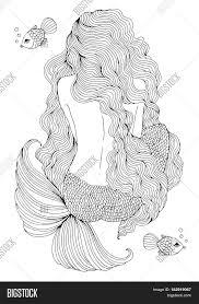 vector drawing fantastic sea mermaid with long wavy hair sits with