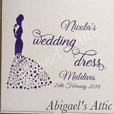 Wedding Dress Storage Boxes Personalised Wedding Dress Vinyl Decal Sticker For Storage Box Or