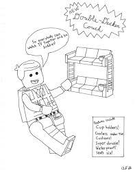 lego movie coloring emmet u0027s couch ad gardboyz