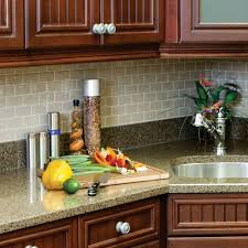 contemporary kitchen style ideas with light brown subway peel