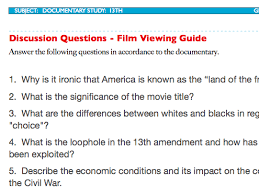 13th discussion questions plus film viewing guide ava duvernay