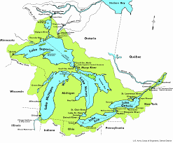 map usa y canada great lakes