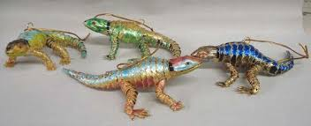4 cloisonne enamel lizard ornaments articulated