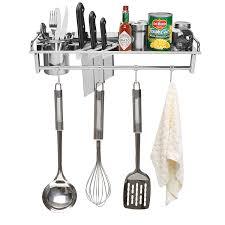 amazon com chrome wall mounted kitchen spice rack w utensil